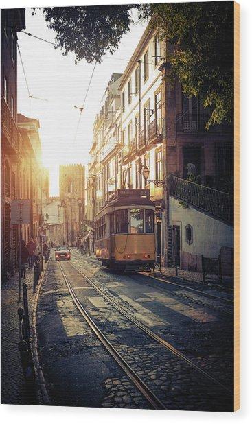 Electric Tram In Lisbon Wood Print