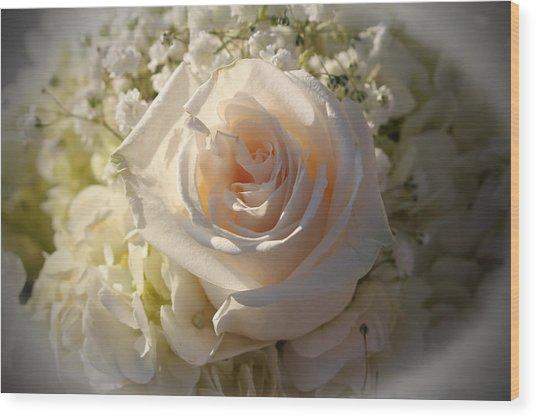 Elegant White Roses Wood Print