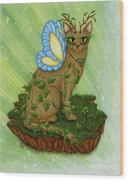 Elemental Earth Fairy Cat Wood Print