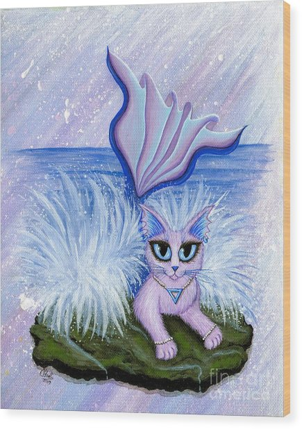 Elemental Water Mermaid Cat Wood Print