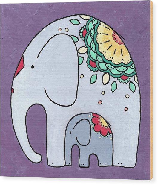 Elephant And Child - On Purple Wood Print