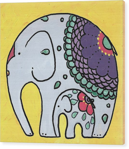 Elephant And Child On Yellow Wood Print