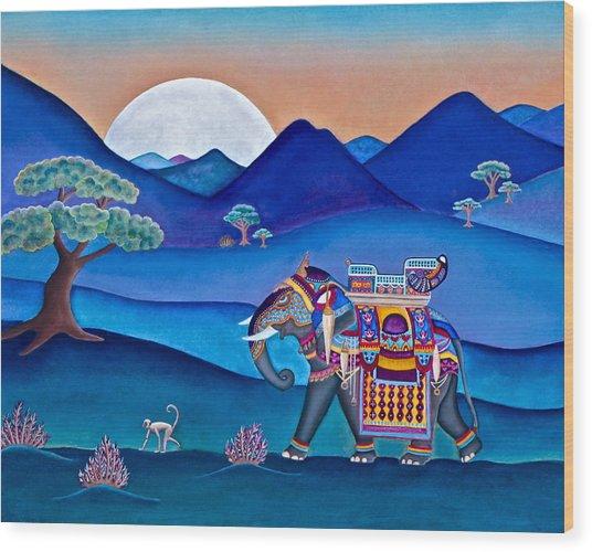 Elephant And Monkey Stroll Wood Print