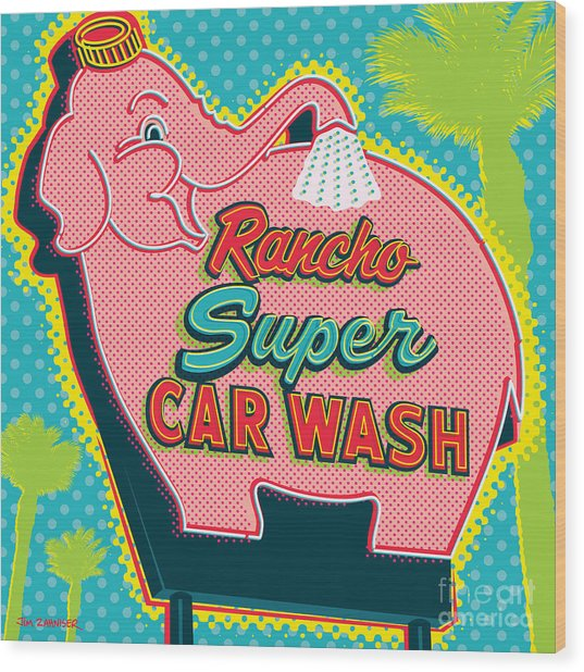 Elephant Car Wash - Rancho Mirage - Palm Springs Wood Print