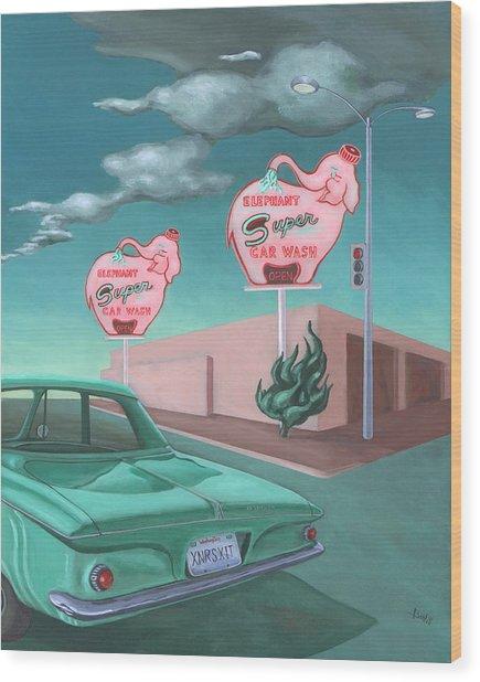 Elephant Car Wash Wood Print by Sally Banfill