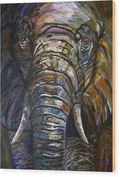 Elephant Faces Of Nature Series Wood Print