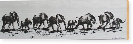 Elephant Fun Wood Print