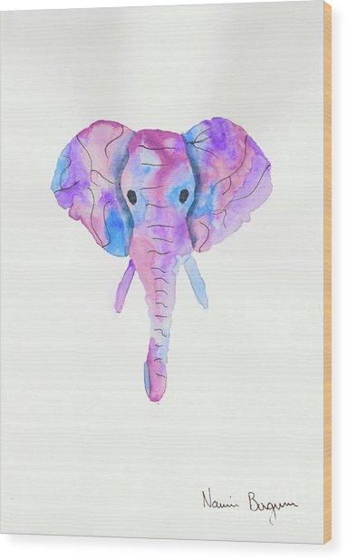 Elephant Head In Watercolour  Wood Print