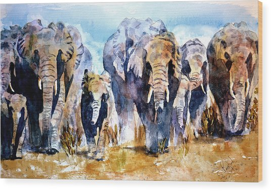 Elephant Herd Wood Print