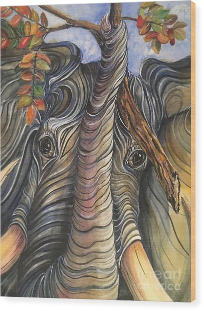 Elephant Holding A Tree Branch Wood Print