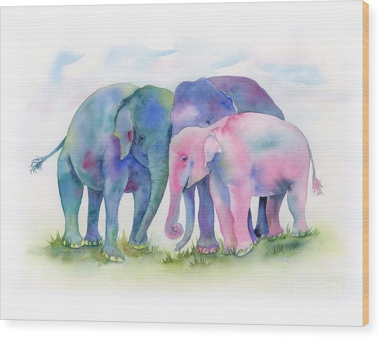 Elephant Hug Wood Print