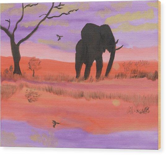 Elephant Spotlight Wood Print