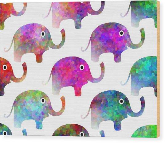 Elephant Parade - Children Pattern Wood Print