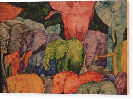 Elephant Party Wood Print