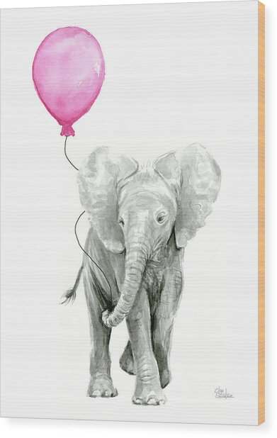 Baby Elephant Watercolor  Wood Print