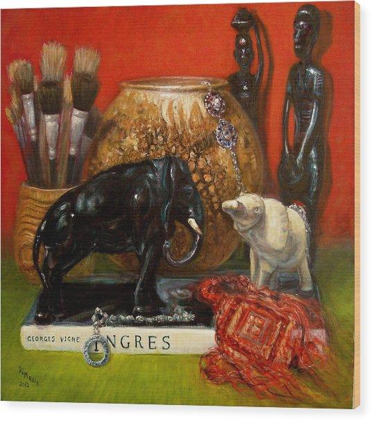 Elephants And Ingres Wood Print