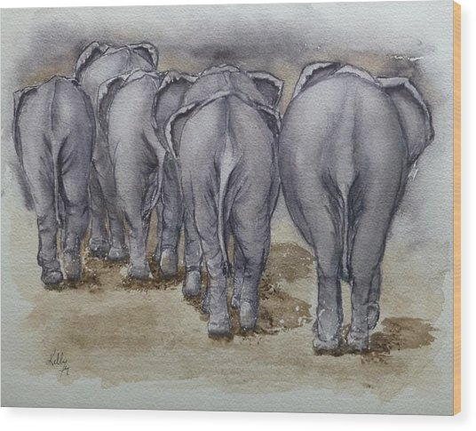 Elephants Leaving...no Butts About It Wood Print