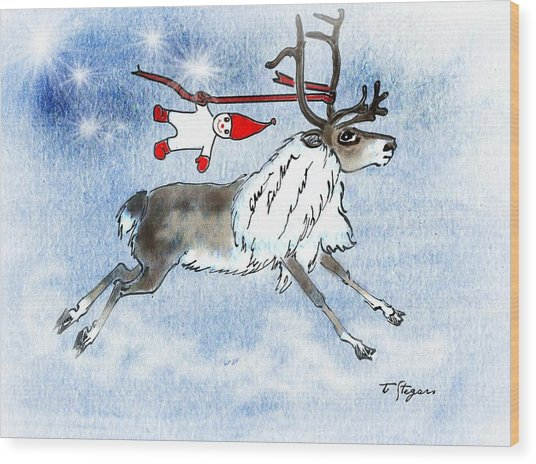 Elf And Reindeer Wood Print