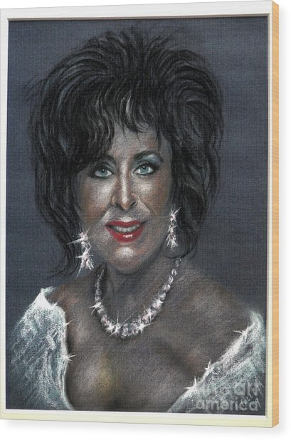 Elizabeth Taylor Wood Print by Tony Calleja