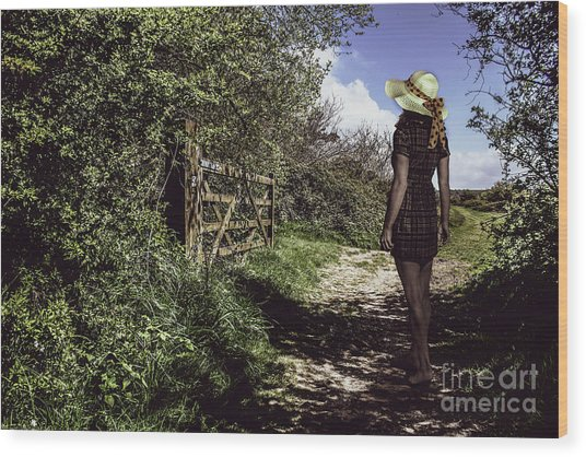 Eliza's Walk In The Countryside. Wood Print