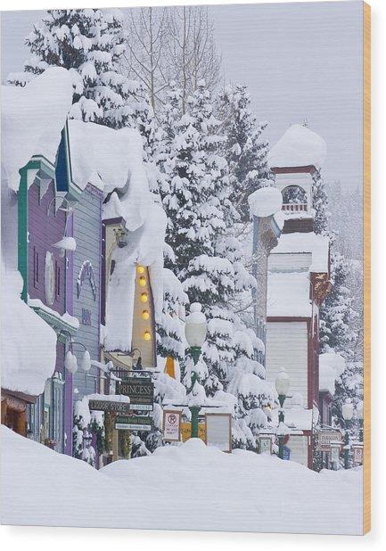 Elk Avenue Snow Wood Print by Dusty Demerson