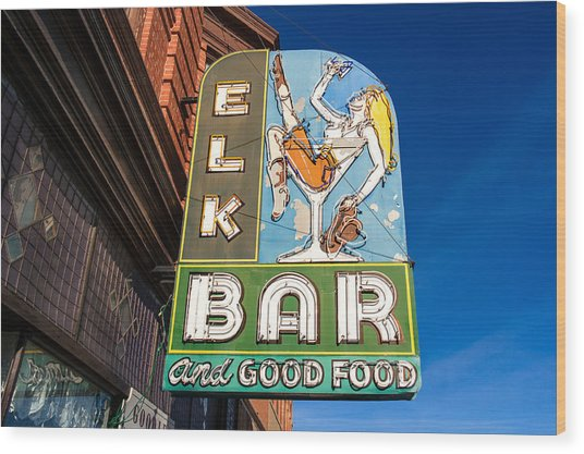 Elk Bar Neon Wood Print