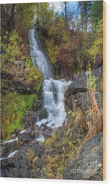 Elk Creek Waterfall Waterscape Art By Kaylyn Franks Wood Print