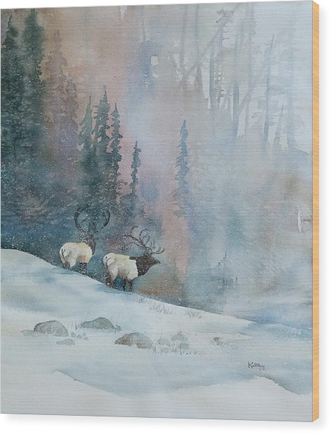 Elk In Winter Wood Print