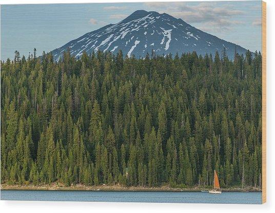Elk Lake Sailing  Wood Print