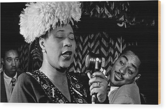 Ella Fitzgerald Dizzy Gillespie And Ray Brown William Gottlieb Photo Nyc 1947-2015 Wood Print