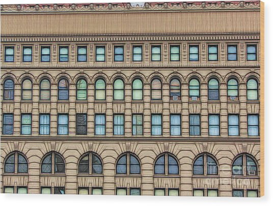 Ellicott Square Building Buffalo Ny Ink Sketch Effect Wood Print