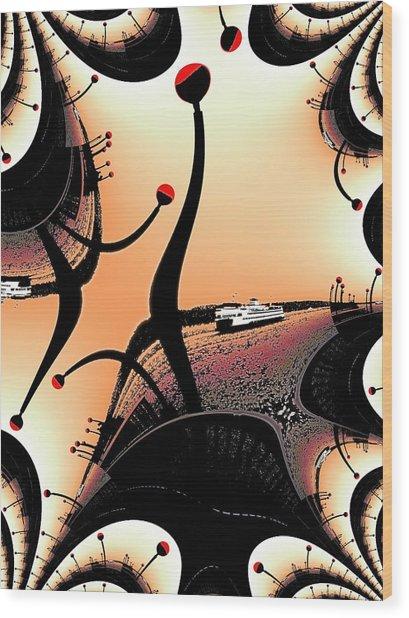 Elliott Bay Ferry Fractal Wood Print