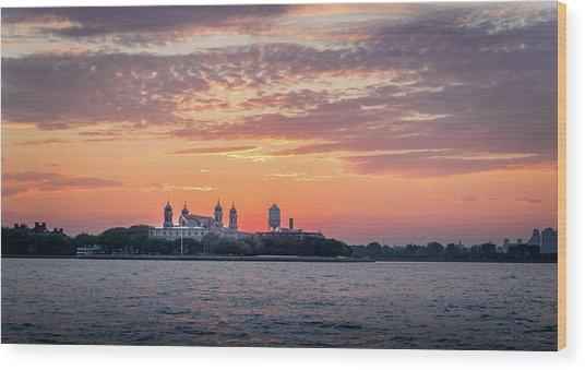 Ellis Island At Sunset Wood Print