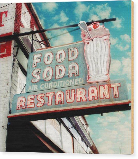 Elliston Place Soda Shoppe - Square Crop Wood Print by Amy Tyler