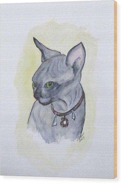 Else The Sphynx Kitten Wood Print