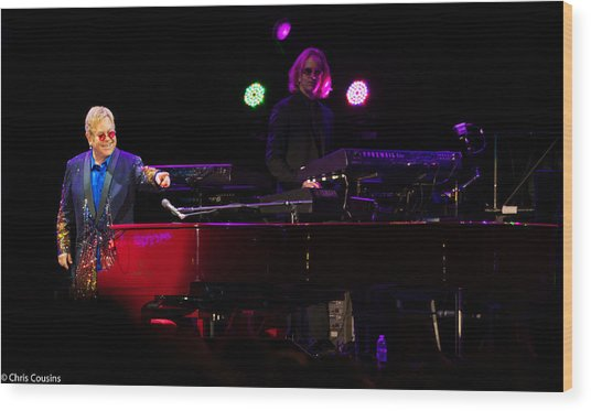 Elton - Enjoying The Show Wood Print