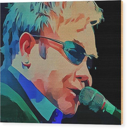 Elton John Blue Eyes Portrait 2 Wood Print