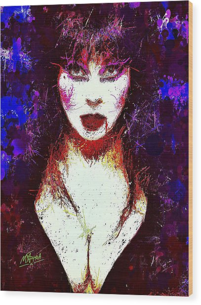 Elvira Mistress Of The Dark Wood Print