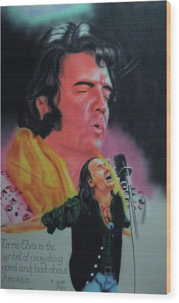 Elvis And Jon Wood Print