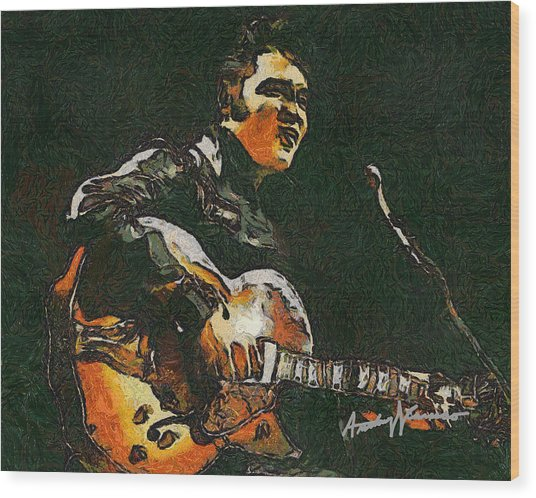 Elvis Wood Print by Anthony Caruso
