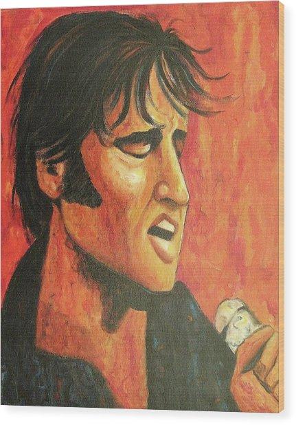 Elvis In Black And Red Wood Print