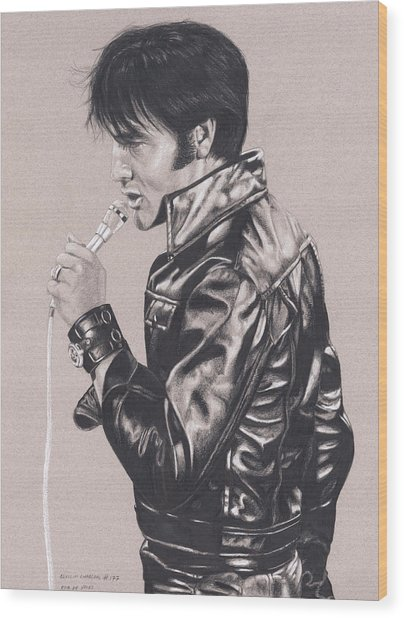 Elvis In Charcoal #177, No Title Wood Print