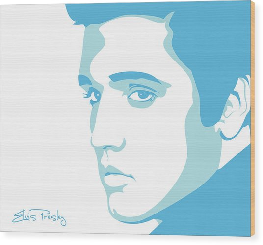 Elvis Wood Print by Mike Maher