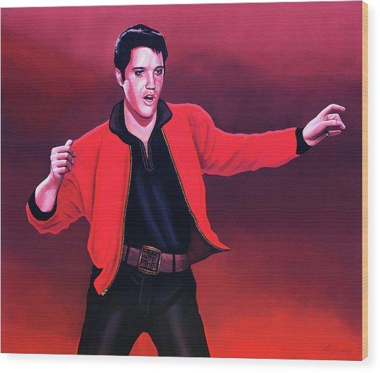 Elvis Presley 4 Painting Wood Print