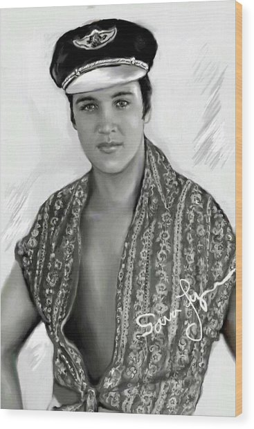 Elvis Presley Art 20 Wood Print