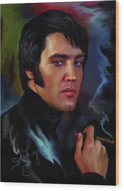 Elvis Presley Art 4 Wood Print
