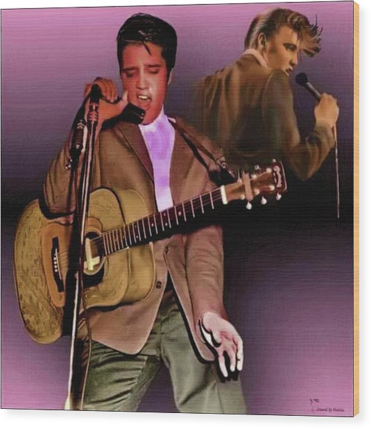 Elvis Presley Art 5 Wood Print