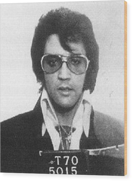 Elvis Presley Mug Shot Vertical Wood Print