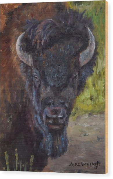 Elvis The Bison Wood Print