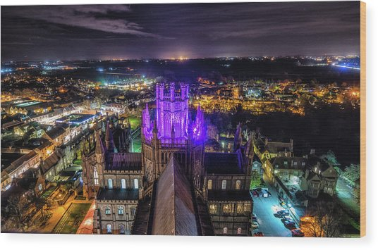 Ely Cathedral In Purple Wood Print